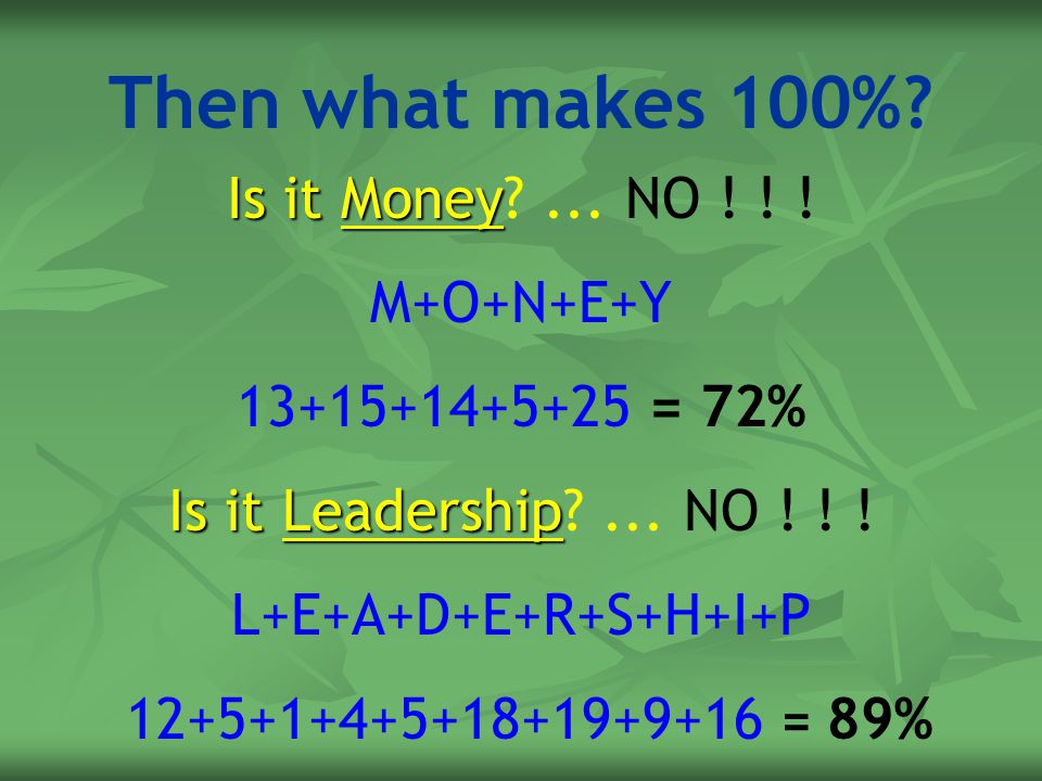 Then what makes 100% Is it Money ... NO ! ! ! M+O+N+E+Y
