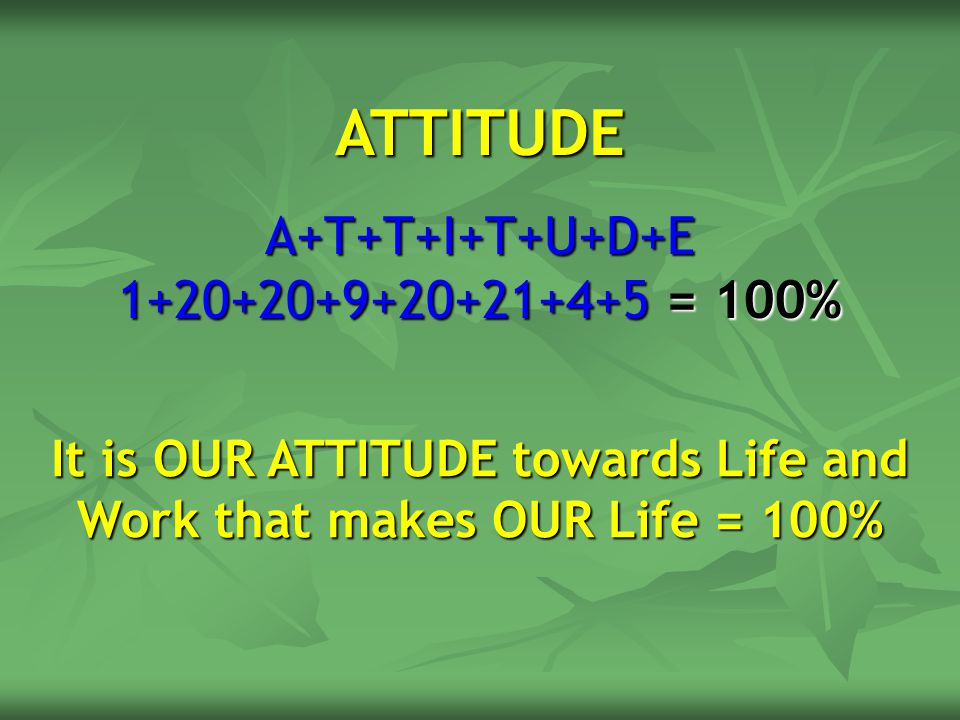 It is OUR ATTITUDE towards Life and Work that makes OUR Life = 100%