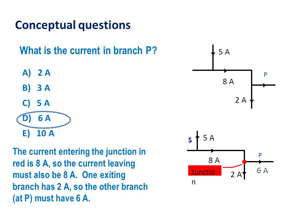 Conceptual questions What is the current in branch P A) 2 A B) 3 A