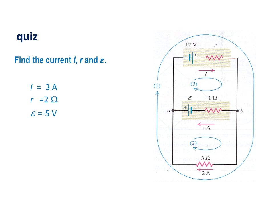 quiz Find the current I, r and ε. I = 3 A r =2 W e =-5 V