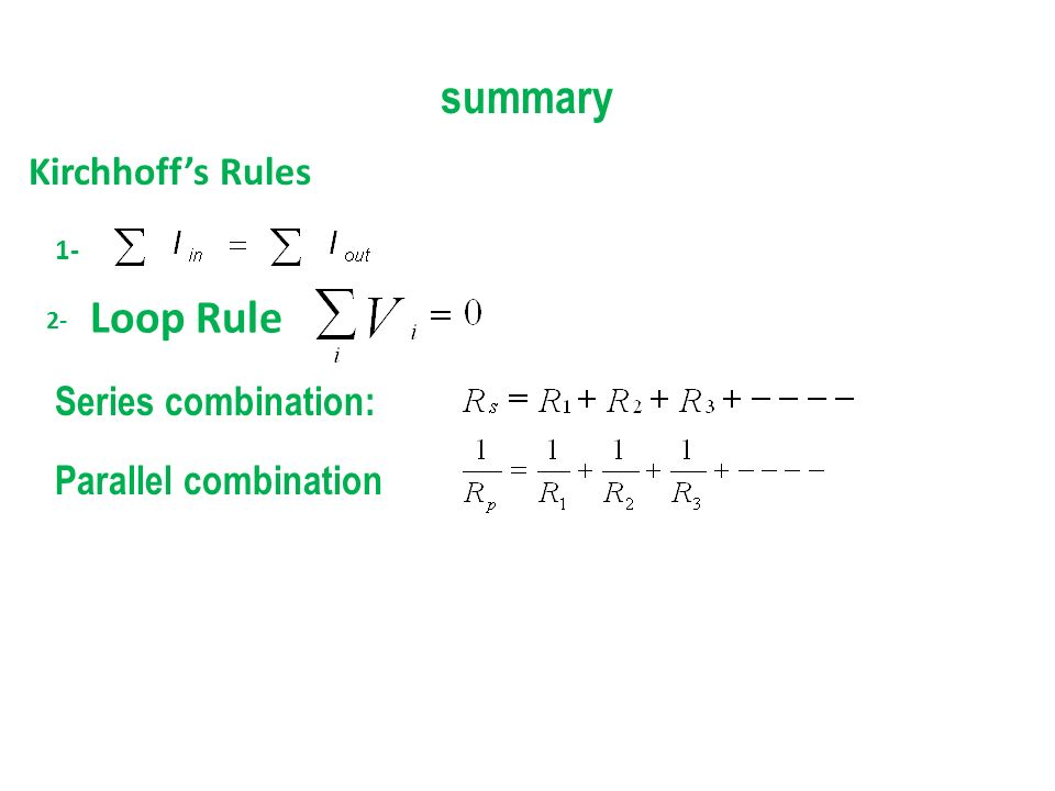 summary Loop Rule Kirchhoff's Rules Series combination: