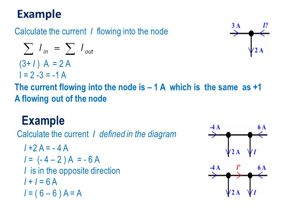 Example Example Calculate the current I flowing into the node