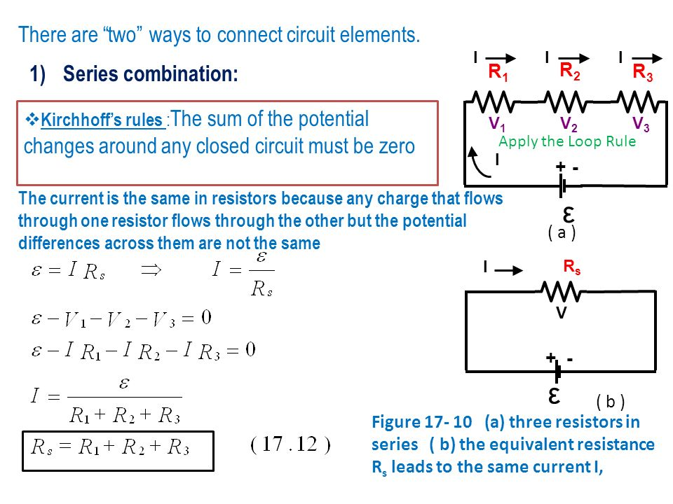 ε ε There are two ways to connect circuit elements.