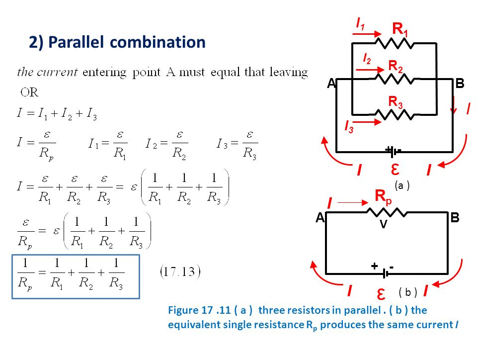 ε ε 2) Parallel combination I R1 I Rp I R3 R2 + - I3 I1 A B + - A B I2