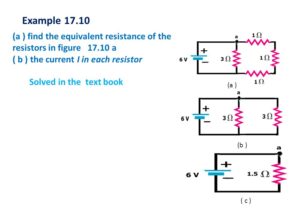 Example 17.10 (a ) find the equivalent resistance of the resistors in figure 17.10 a. ( b ) the current I in each resistor.