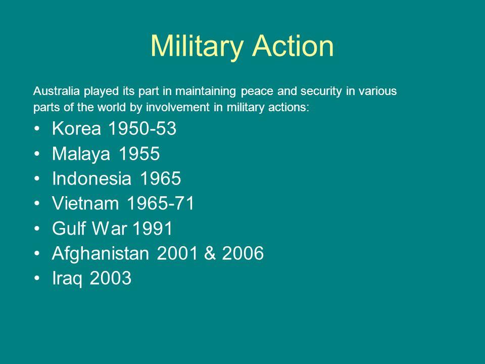 Military Action Korea 1950-53 Malaya 1955 Indonesia 1965