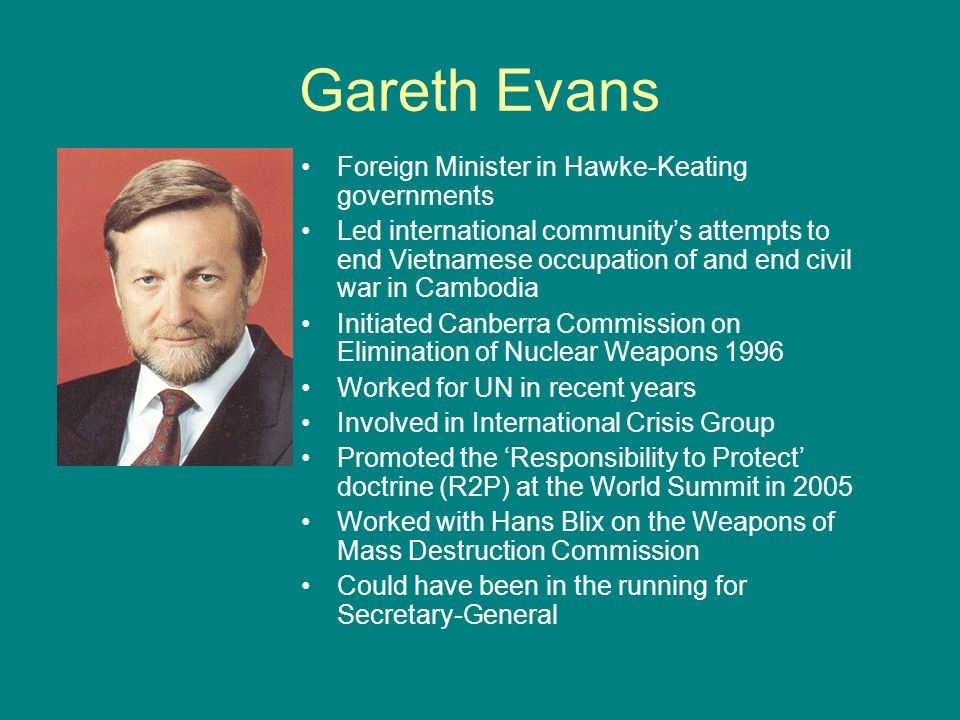 Gareth Evans Foreign Minister in Hawke-Keating governments