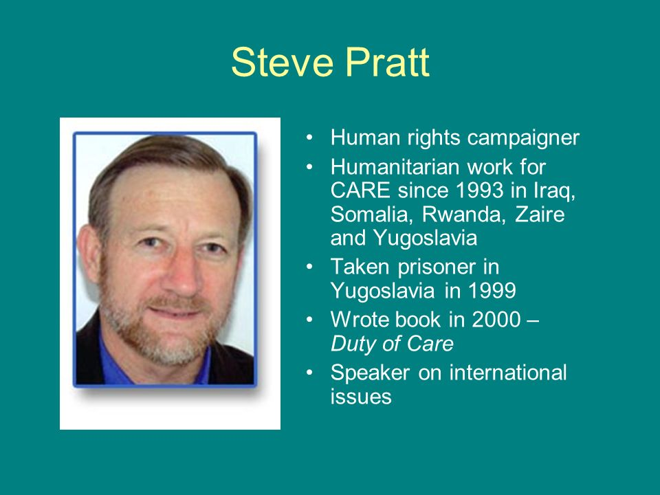 Steve Pratt Human rights campaigner
