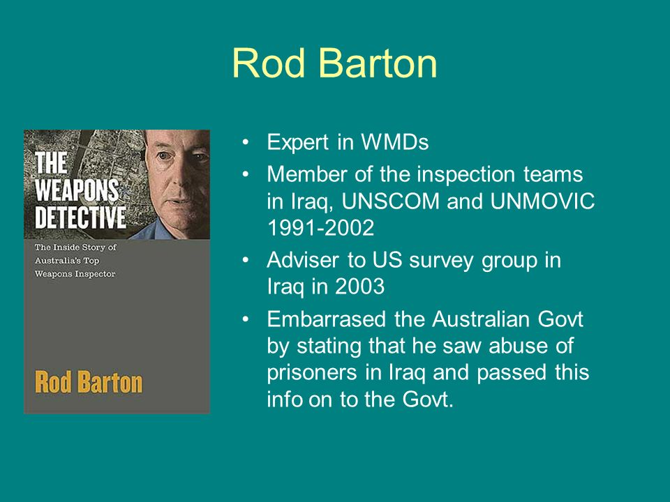 Rod Barton Expert in WMDs