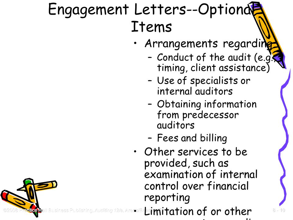 Engagement Letters--Optional Items