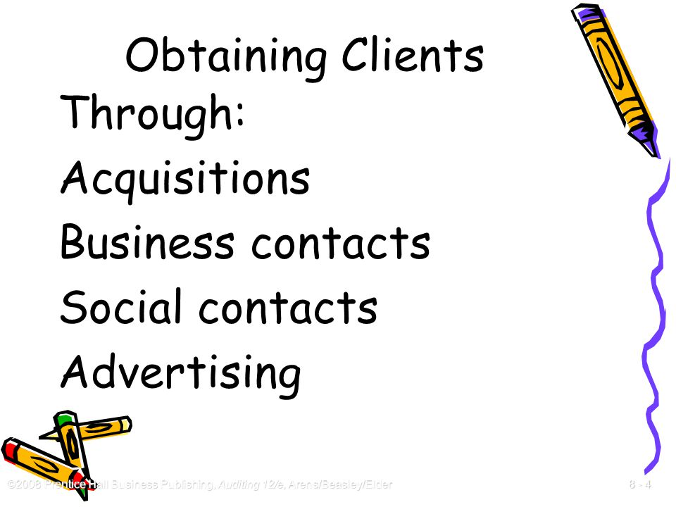 Obtaining Clients Through: Acquisitions Business contacts Social contacts Advertising