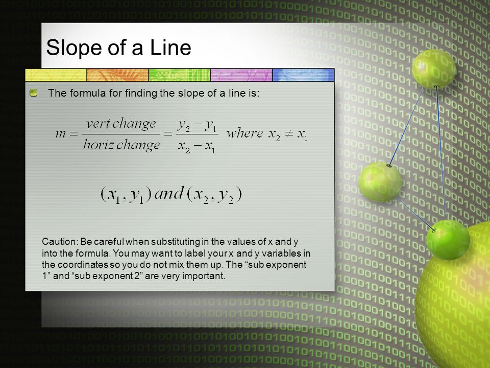 Slope of a Line The formula for finding the slope of a line is: