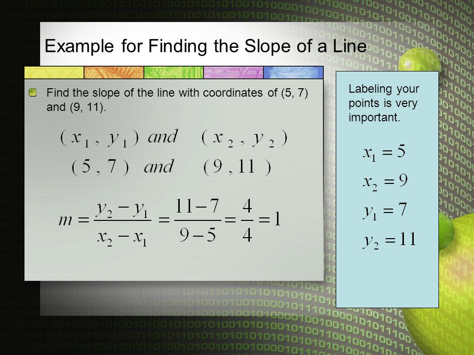 Example for Finding the Slope of a Line