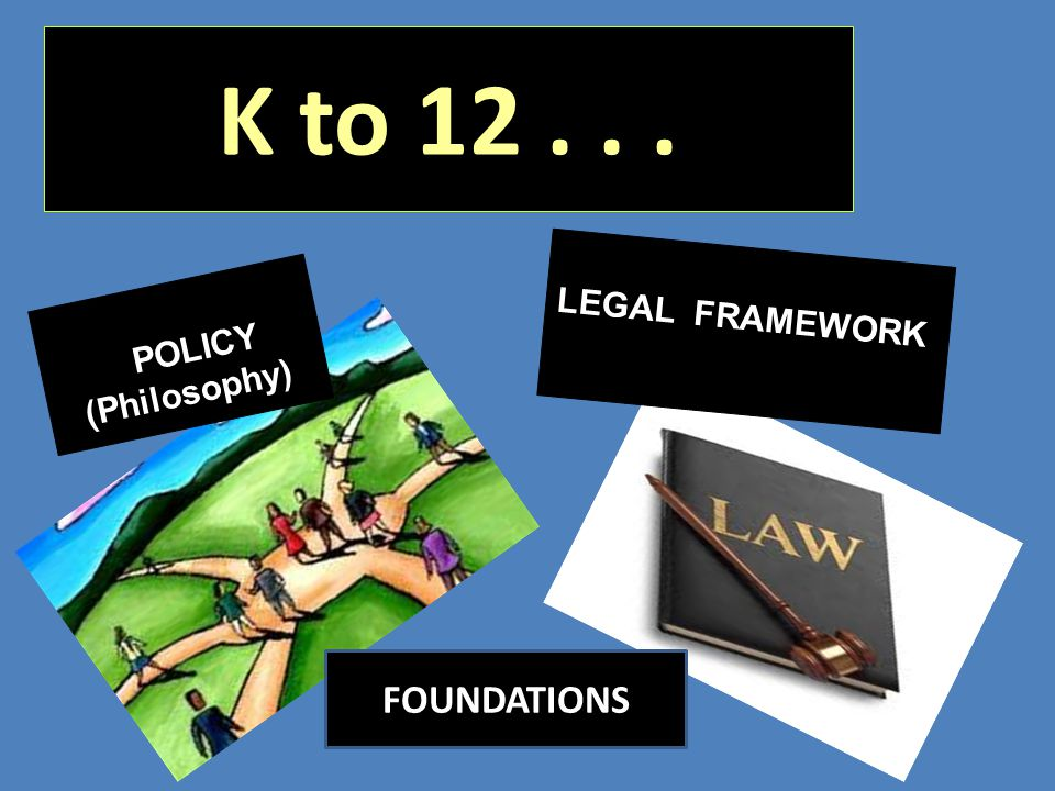 K to 12 . . . LEGAL FRAMEWORK POLICY (Philosophy) FOUNDATIONS