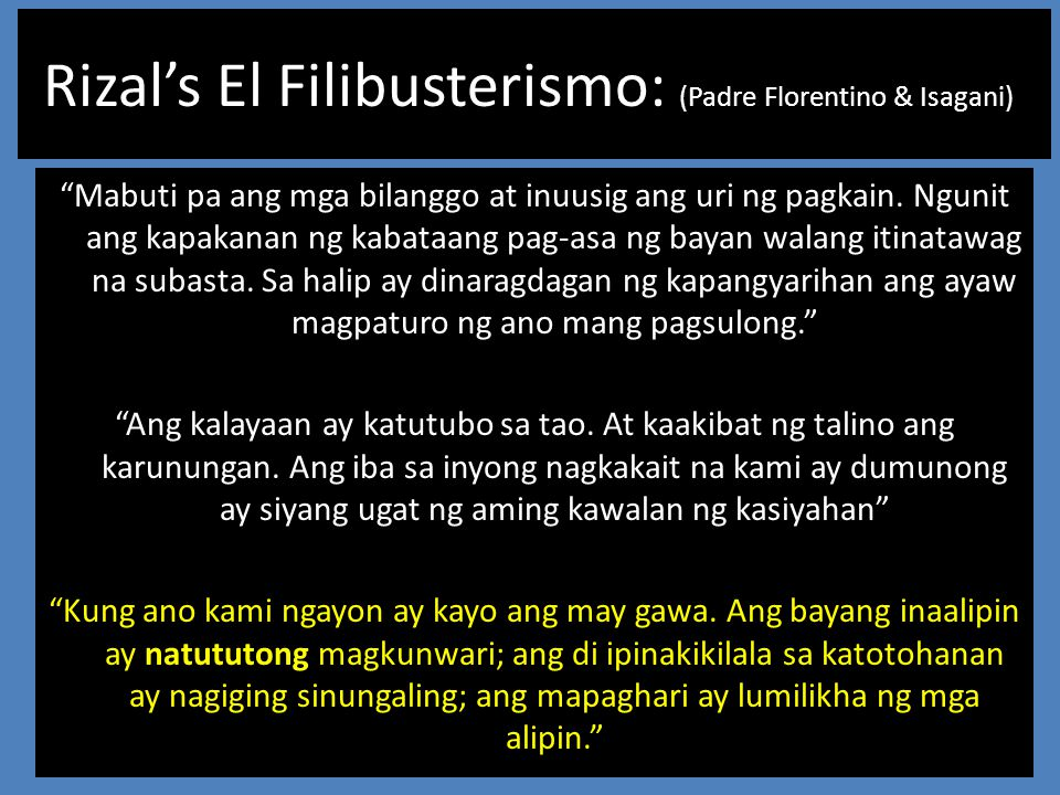 Rizal's El Filibusterismo: (Padre Florentino & Isagani)