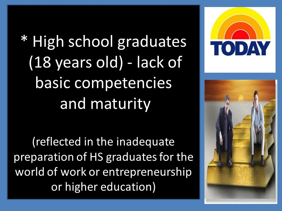 * High school graduates (18 years old) - lack of basic competencies