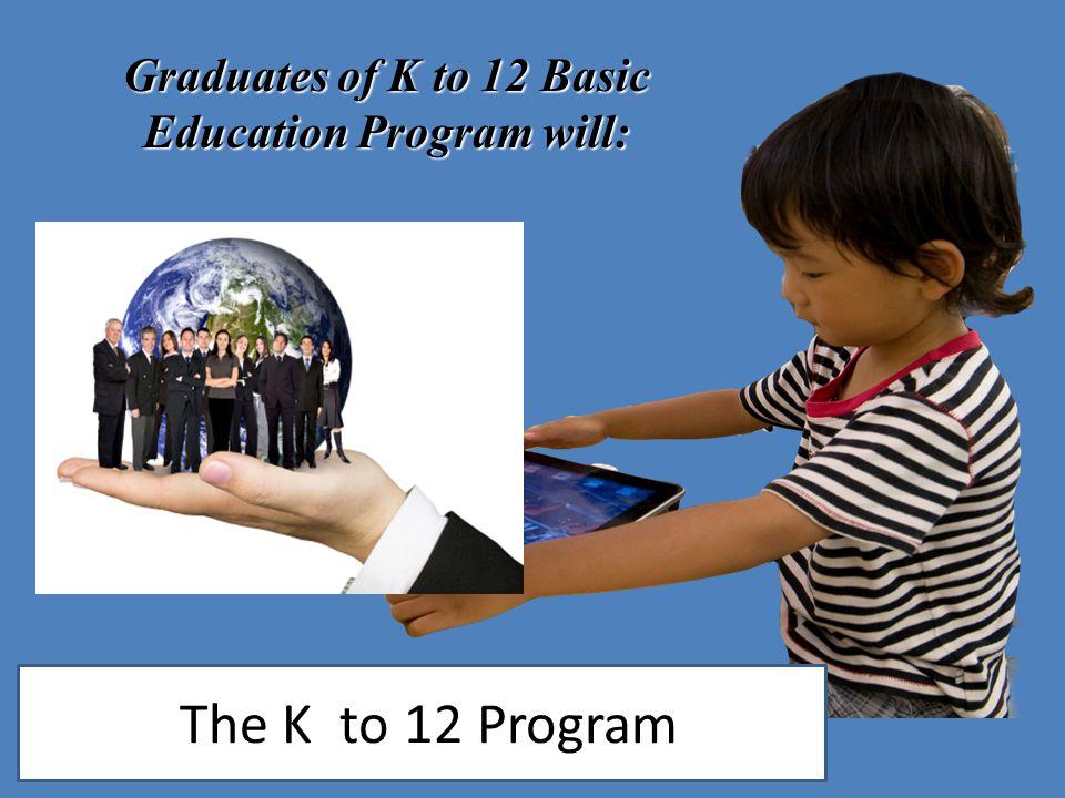 Graduates of K to 12 Basic Education Program will: