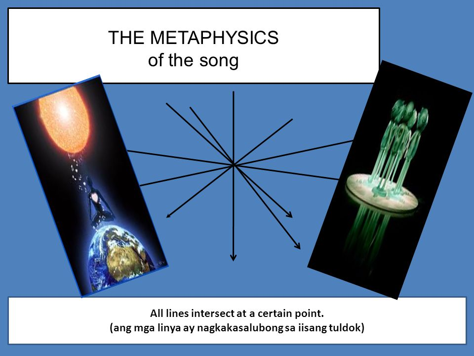 THE METAPHYSICS of the song All lines intersect at a certain point.