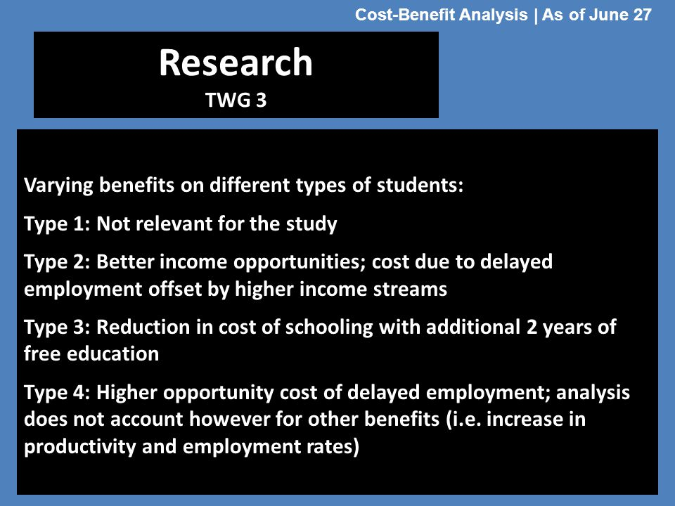 Cost-Benefit Analysis | As of June 27
