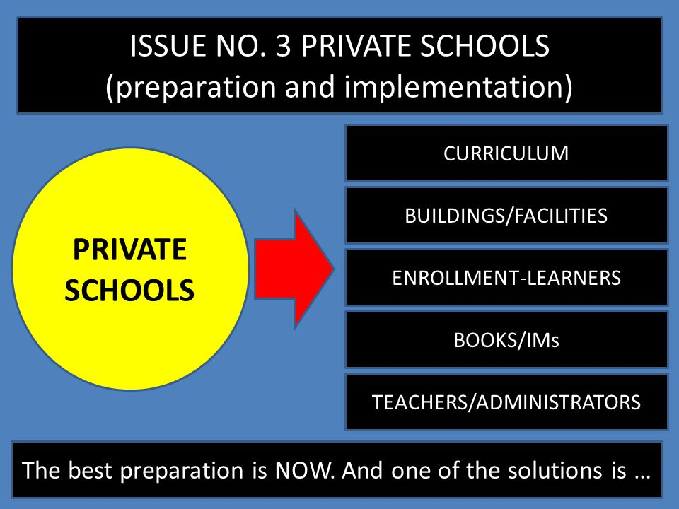 ISSUE NO. 3 PRIVATE SCHOOLS (preparation and implementation)
