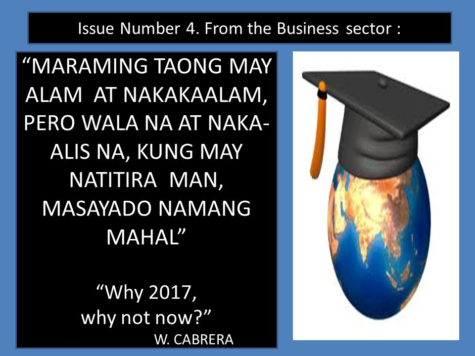 Issue Number 4. From the Business sector :