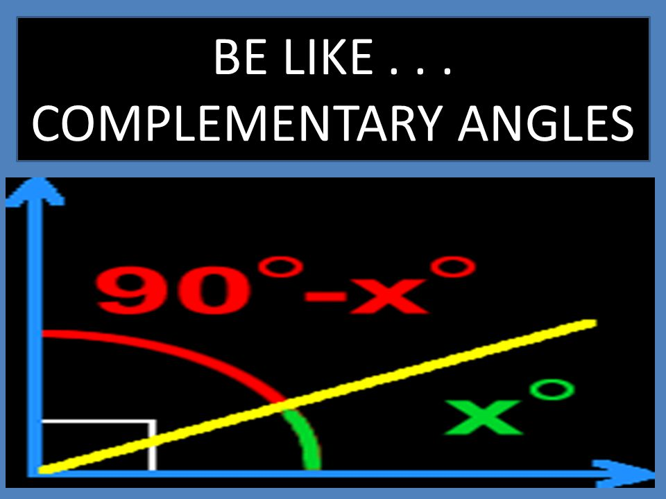 BE LIKE . . . COMPLEMENTARY ANGLES