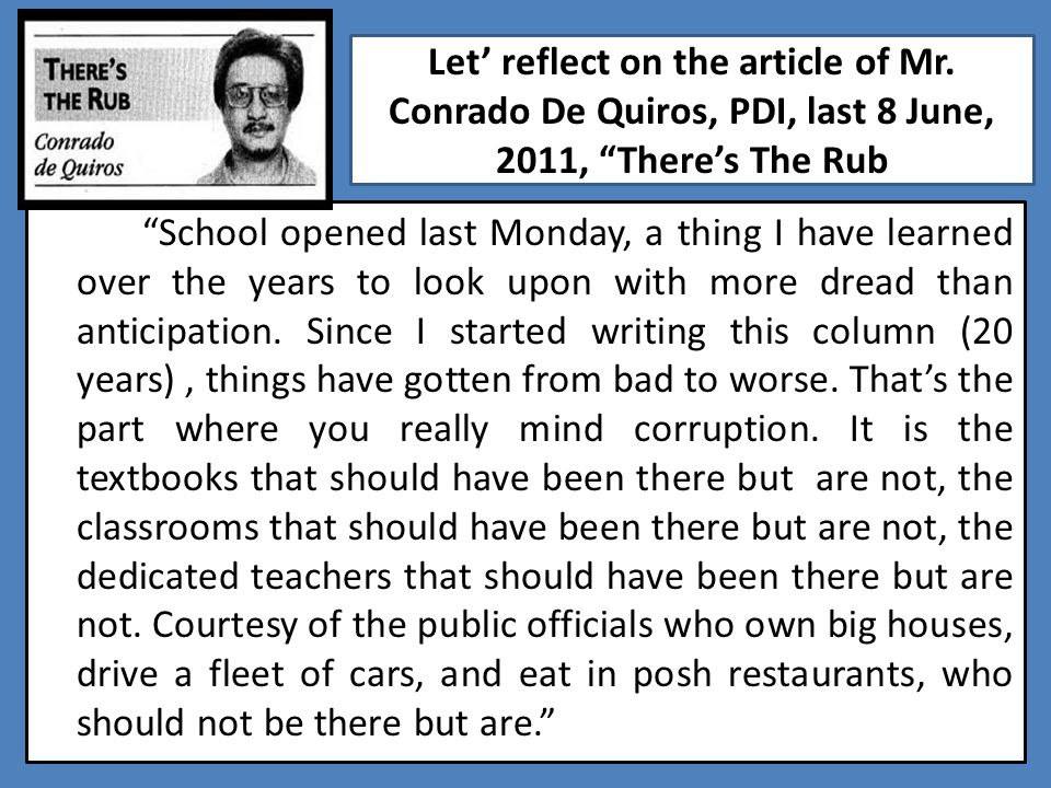 Let' reflect on the article of Mr