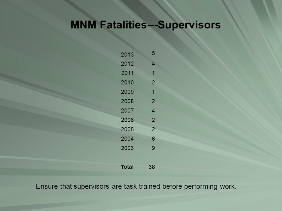MNM Fatalities---Supervisors