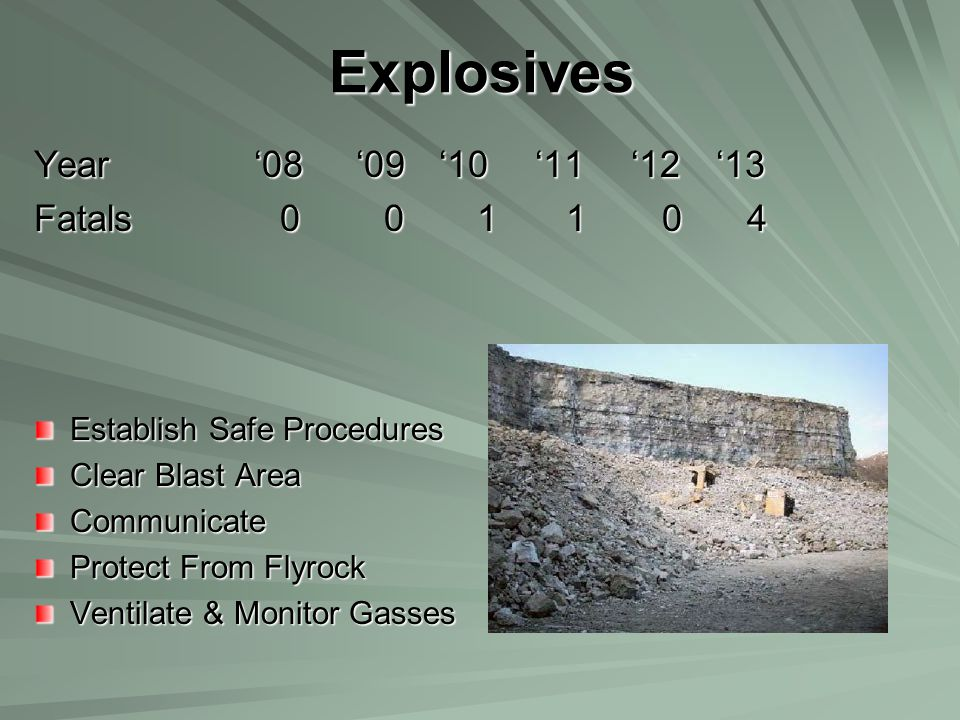 Explosives Year '08 '09 '10 '11 '12 '13 Fatals 0 0 1 1 0 4