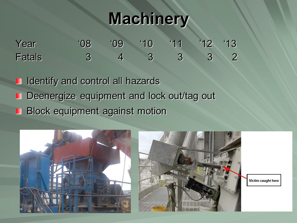 Machinery Year '08 '09 '10 '11 '12 '13 Fatals 3 4 3 3 3 2