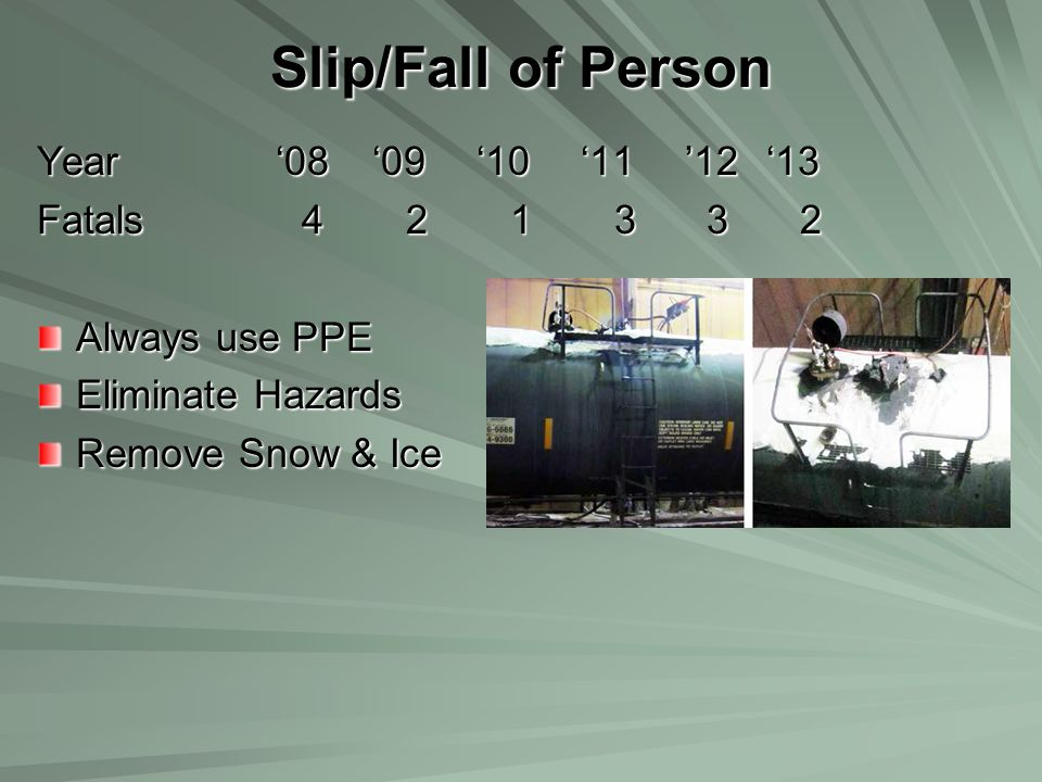 Slip/Fall of Person Year '08 '09 '10 '11 '12 '13 Fatals 4 2 1 3 3 2