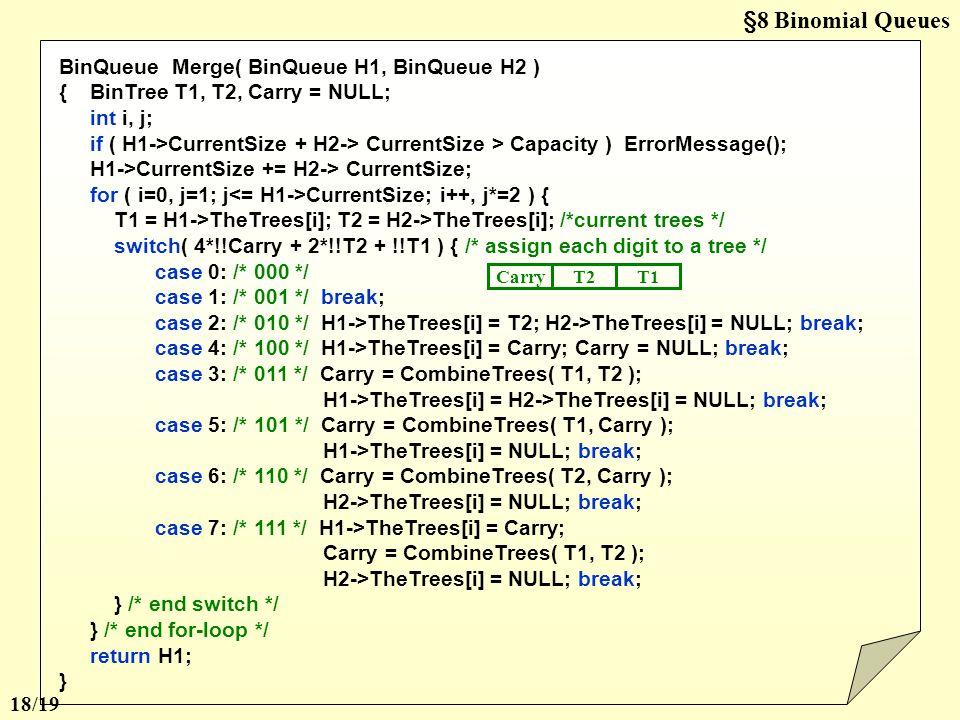 §8 Binomial Queues BinQueue Merge( BinQueue H1, BinQueue H2 )