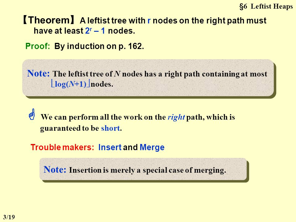 §6 Leftist Heaps 【Theorem】A leftist tree with r nodes on the right path must have at least 2r – 1 nodes.