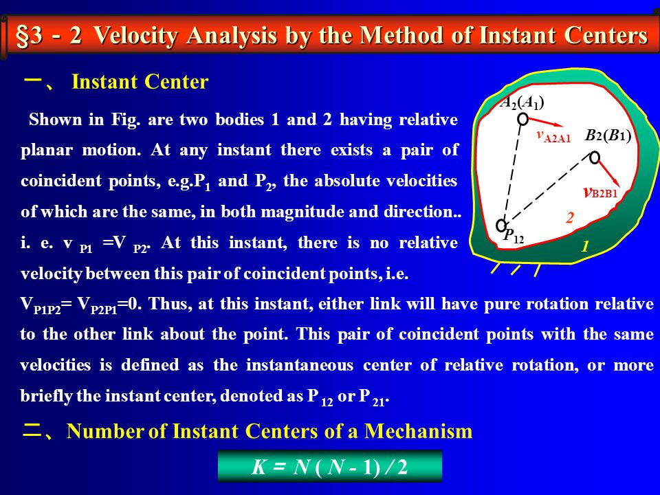 §3-2 Velocity Analysis by the Method of Instant Centers