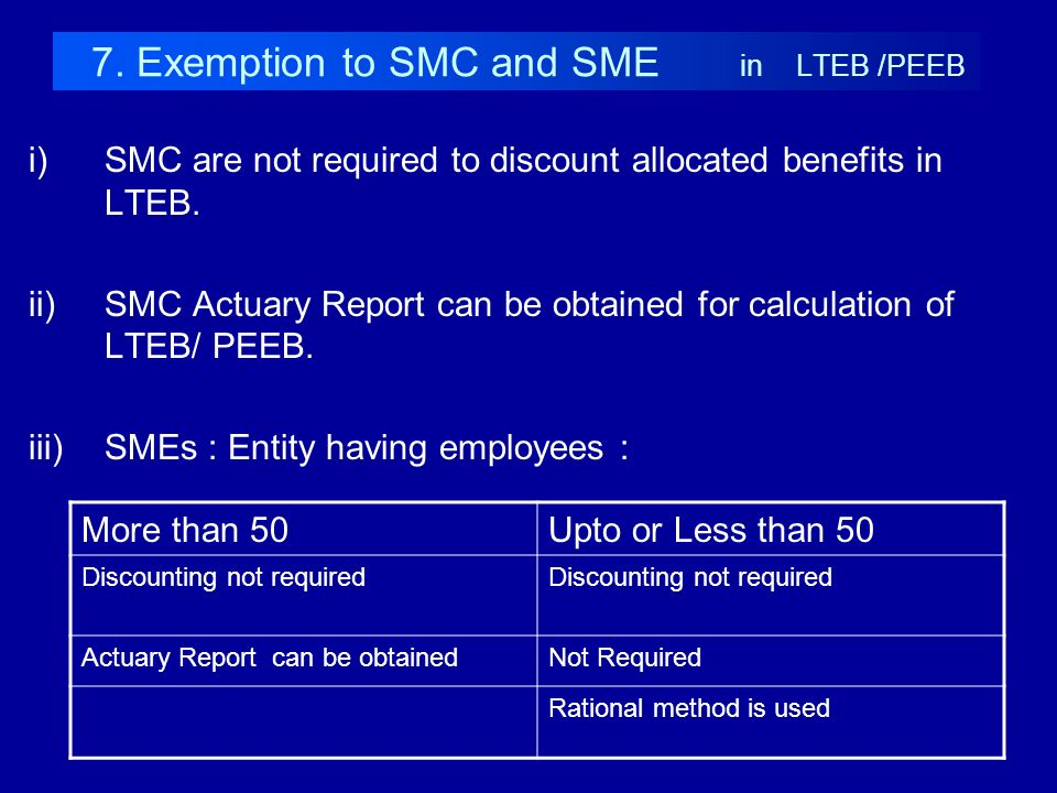 7. Exemption to SMC and SME in LTEB /PEEB