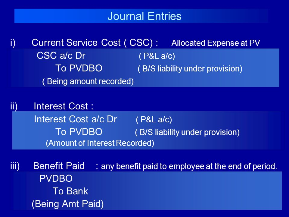 Journal Entries i) Current Service Cost ( CSC) : Allocated Expense at PV. CSC a/c Dr ( P&L a/c)