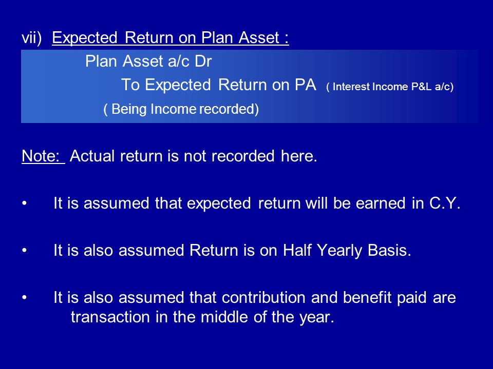 vii) Expected Return on Plan Asset :