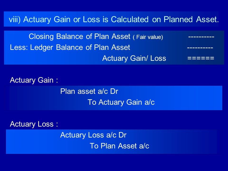 viii) Actuary Gain or Loss is Calculated on Planned Asset.
