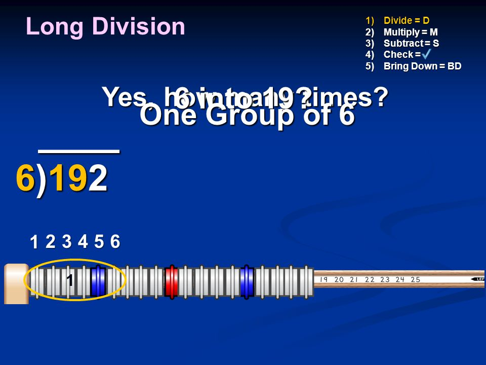 ____ 6)192 6 into 19 One Group of 6 Yes, how many times
