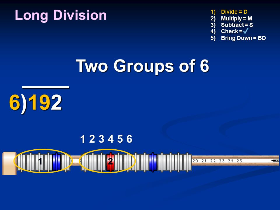 ____ 6)192 Two Groups of 6 Long Division 1 2 3 4 5 6 1 1 2 Divide = D