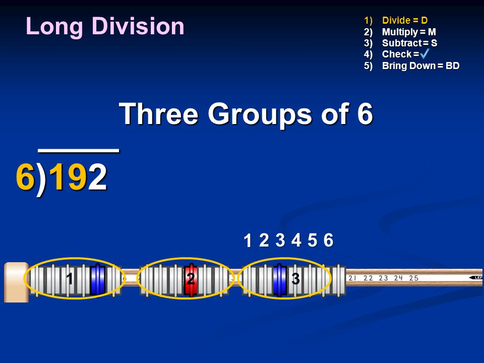 ____ 6)192 Three Groups of 6 Long Division 1 2 3 4 5 6 1 1 2 3