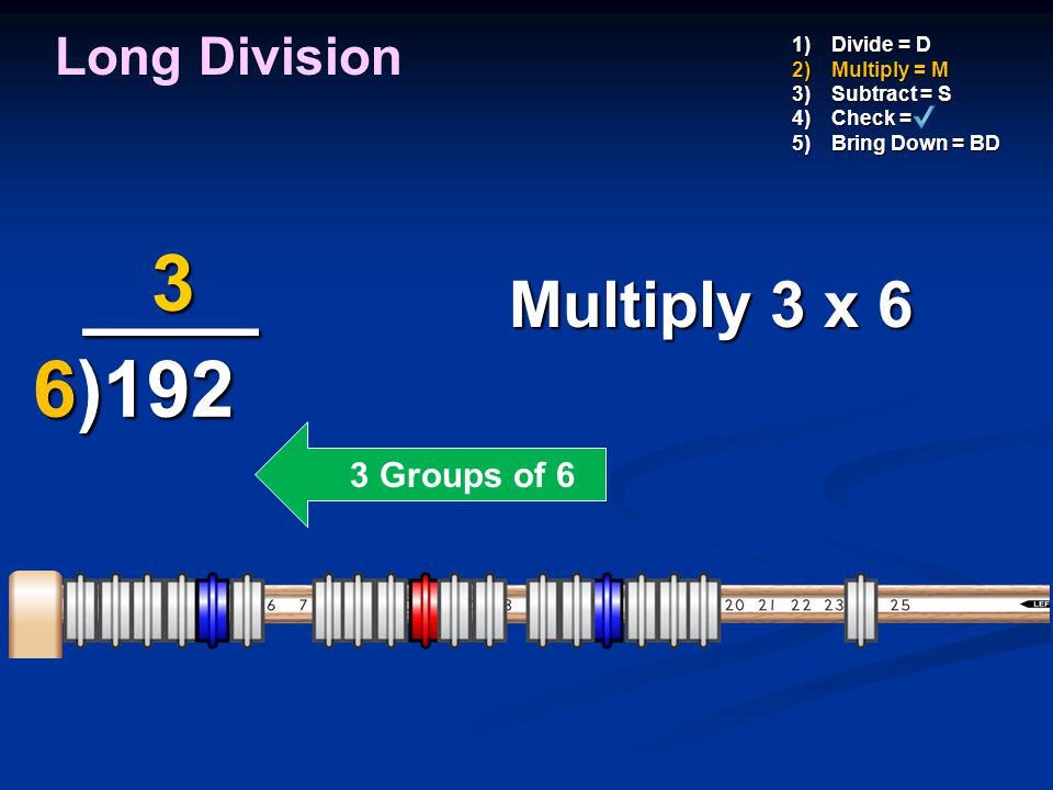 ____ 3 6)192 Multiply 3 x 6 Long Division 3 Groups of 6 Divide = D