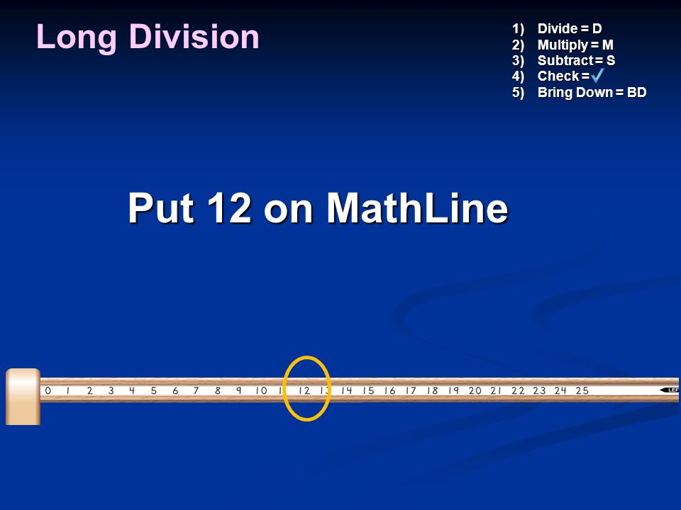 Put 12 on MathLine Long Division Divide = D Multiply = M Subtract = S