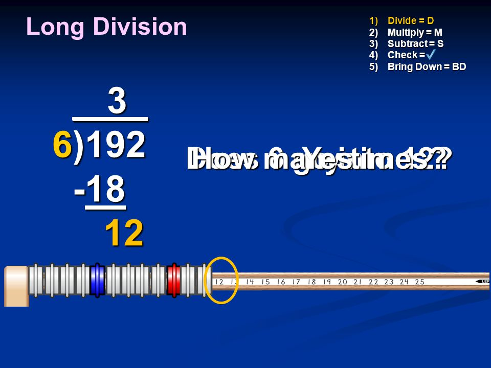 _ 3_ 6)192 -18 12 How many times Does 6 go into 12 Yes Long Division