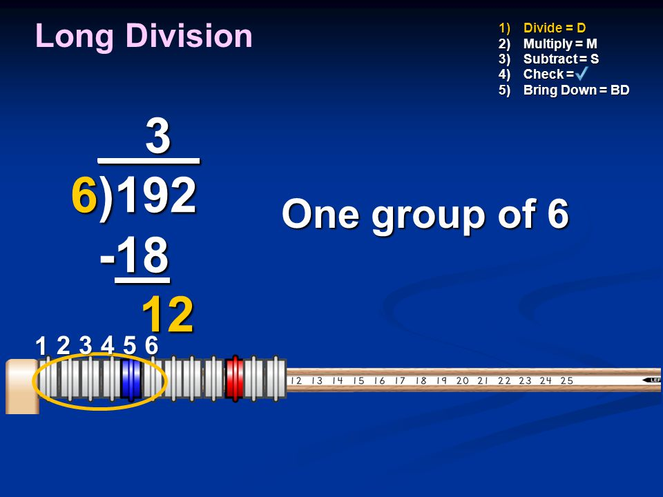 _ 3_ 6)192 -18 12 One group of 6 Long Division 1 2 3 4 5 6 Divide = D