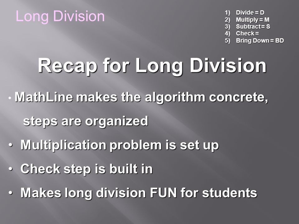 Recap for Long Division