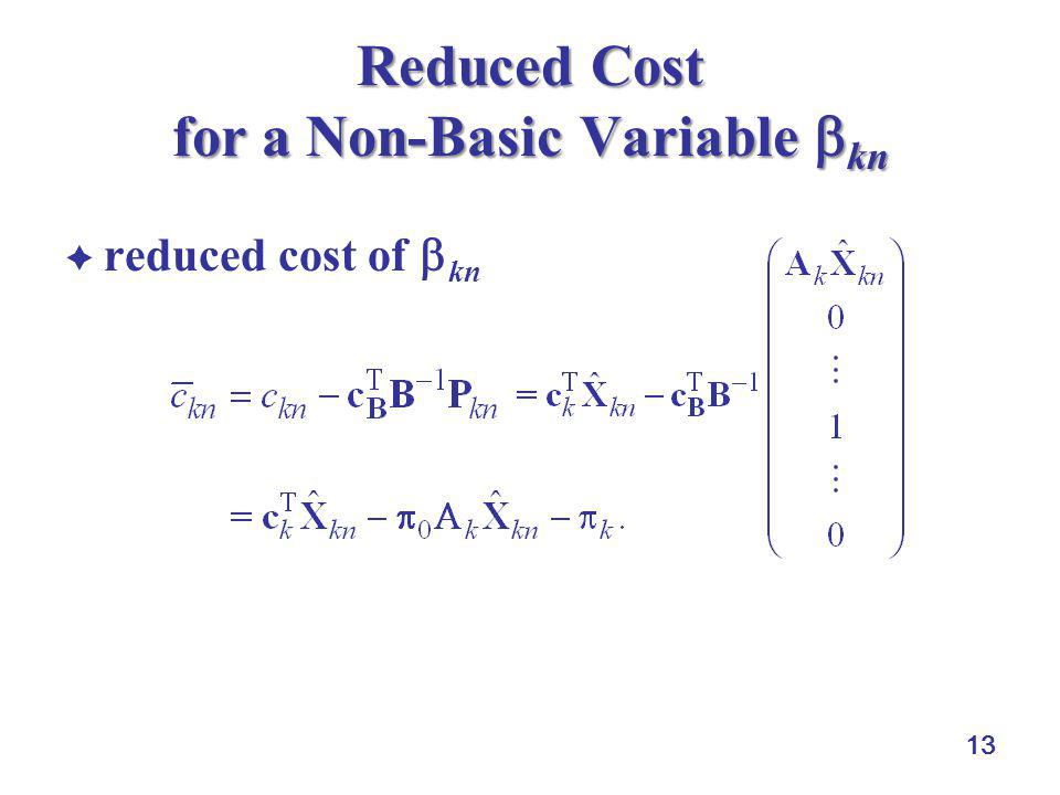 Reduced Cost for a Non-Basic Variable kn