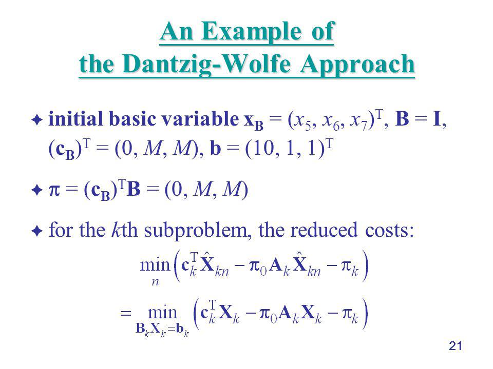 An Example of the Dantzig-Wolfe Approach