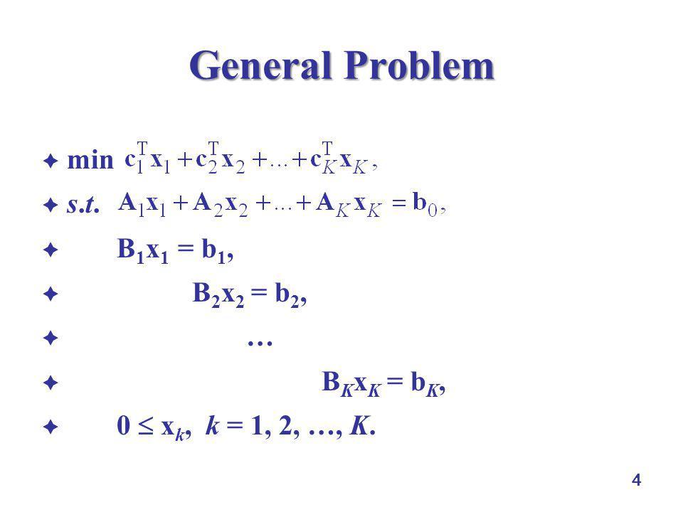 General Problem min s.t. B1x1 = b1, B2x2 = b2, … BKxK = bK,