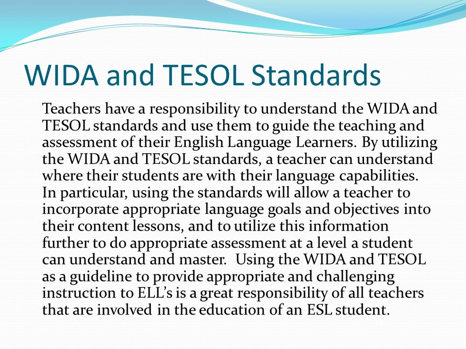 WIDA and TESOL Standards